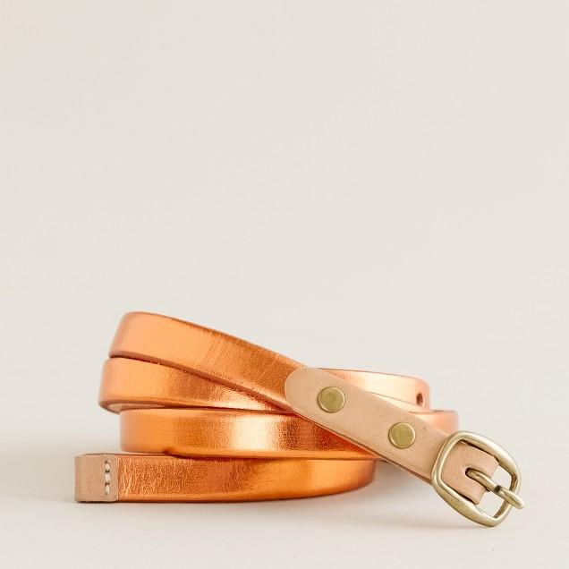 Metallic skinny belt