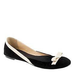 Suede ballet flats with bow