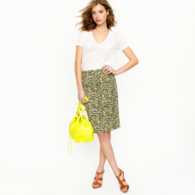 Long No. 2 pencil skirt in abstract leopard