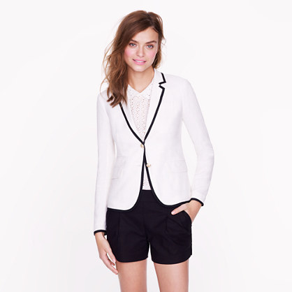 Petite classic schoolboy blazer in tipped linen