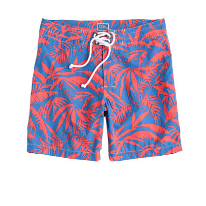 "7""board shorts in palm leaves print"