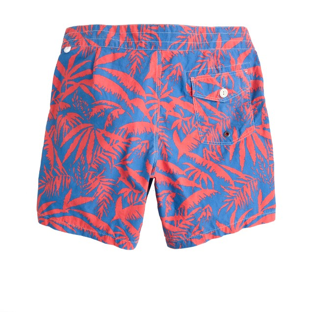 """7""""board shorts in palm leaves print"""