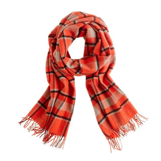 Wool plaid scarf
