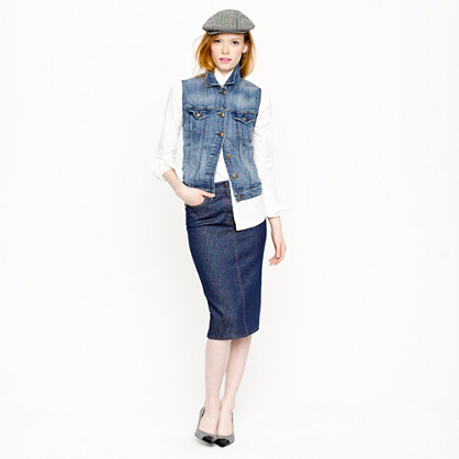 High-waisted denim pencil skirt in rinse wash : AllProducts | J.Crew