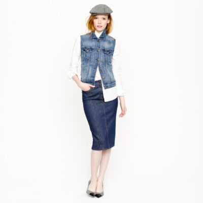 high waisted denim pencil skirt in rinse wash j crew