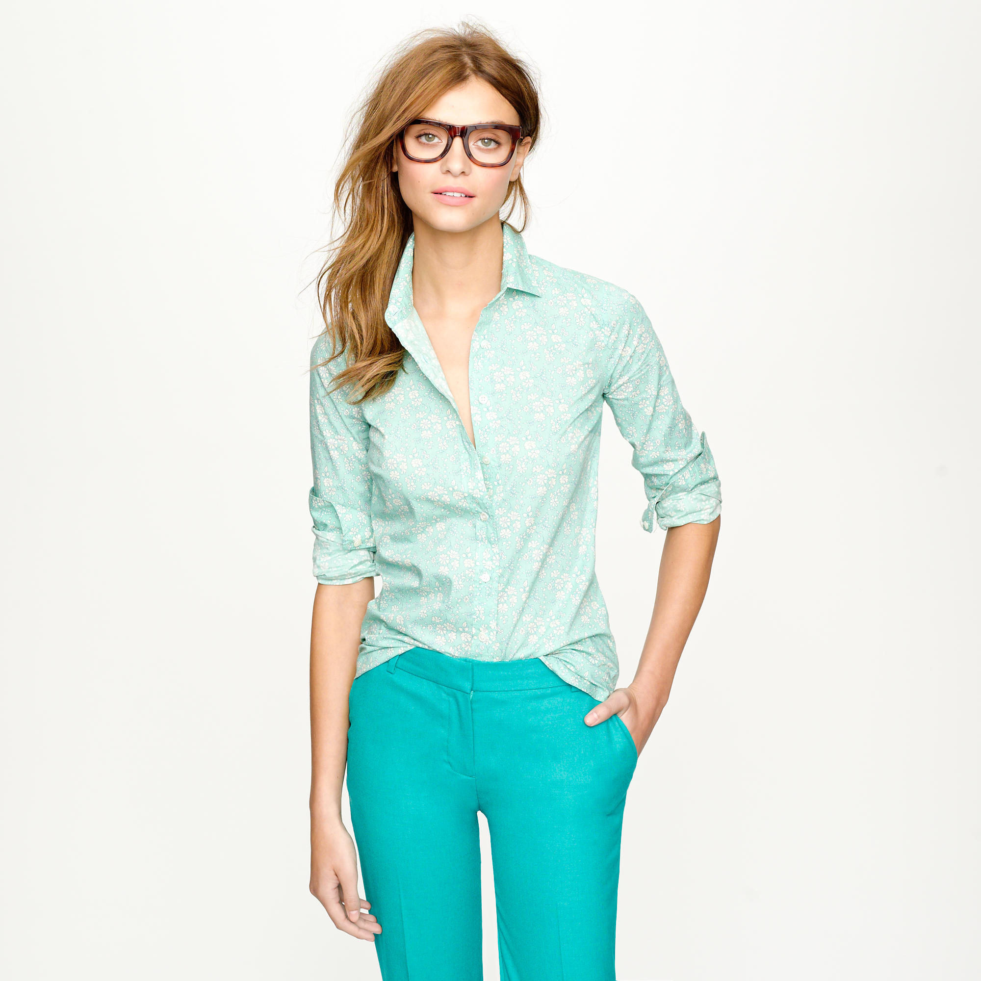 Liberty perfect shirt in floral j crew for Jcrew com