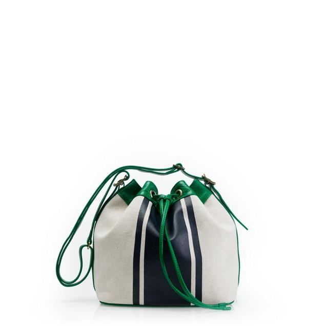 Tillary bucket bag in canvas stripe