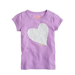 Girls' happy heart sequin tee