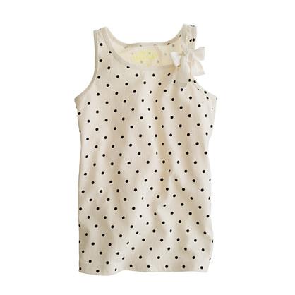 Girls' bow tank in polka dot