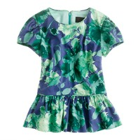 Peplum top in fresco floral sateen