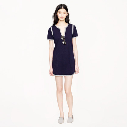 Knit tunic dress with marled trim