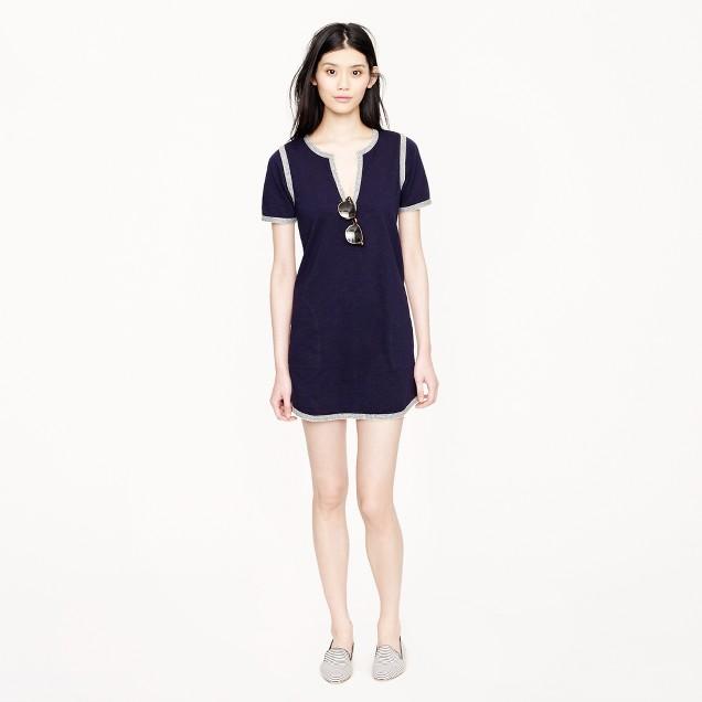 Knit tunic dress with marled trim