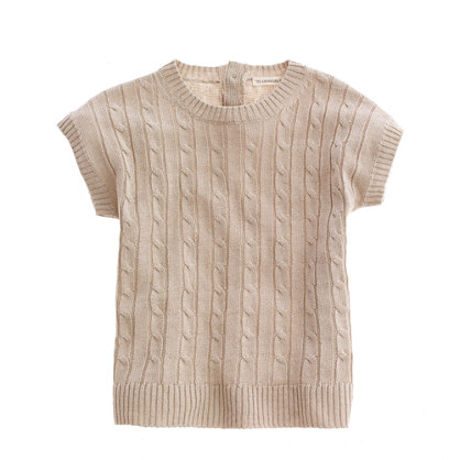 Girls' cable-linen popover