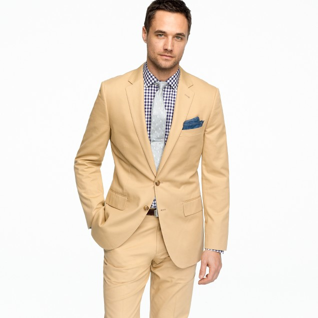 Aldridge two-button suit jacket with center vent in Italian chino