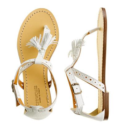 Girls' tassel T-strap sandals