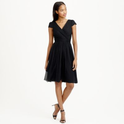 Black silk chiffon bridesmaid dress