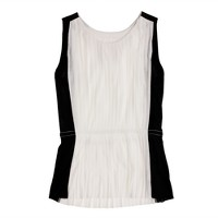 Accordion pleat top in colorblock