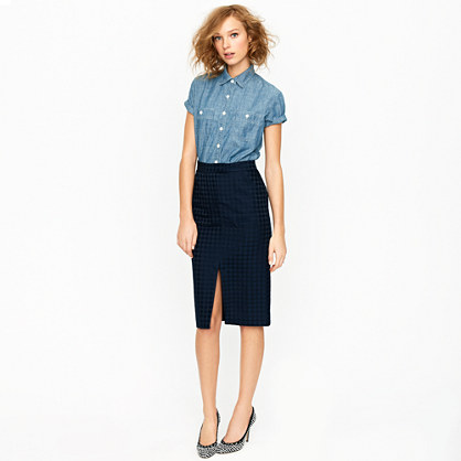 Collection jacquard dot pencil skirt
