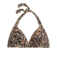 D-cup feather paisley ruched lido halter top