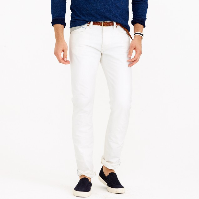 484 slim white rinse selvedge jean