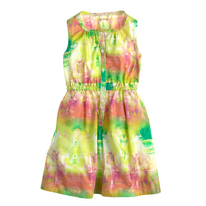 Girls' abstract watercolor poplin dress