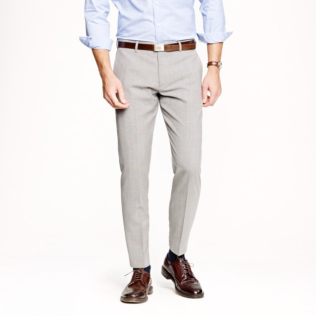 Ludlow slim suit pant in light charcoal Italian worsted wool
