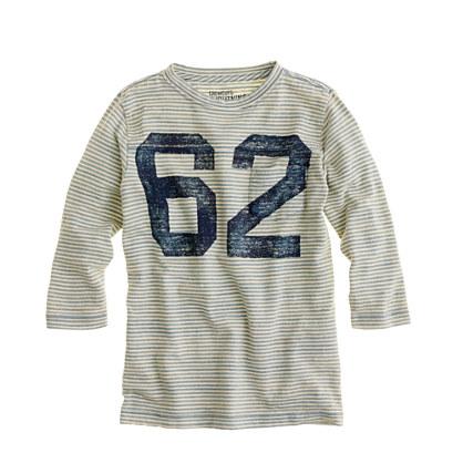 Boys' three-quarter sleeve football tee in indigo stripe