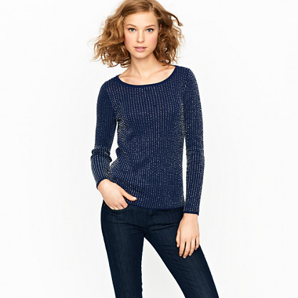 Cotton crepe beaded sweater
