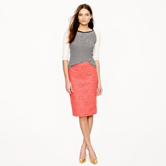 Petite No. 2 pencil skirt in pinwheel eyelet