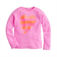 Girls' sequin heart sweatshirt