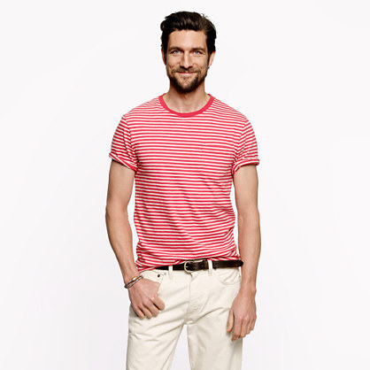 Pocket tee in pale barn stripe