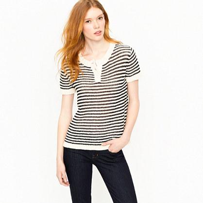 Stripe twisted stitch henley