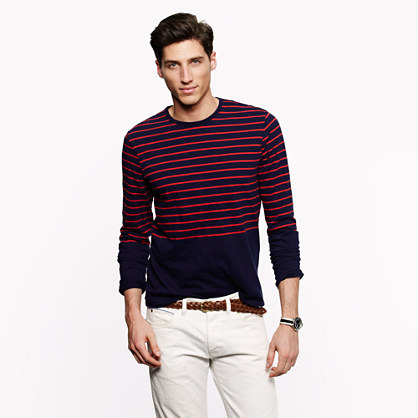 Long-sleeve tee in caspian night stripe
