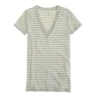 Vintage cotton V-neck tee in stripe