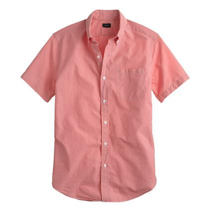 Secret wash short-sleeve shirt in deep poppy gingham