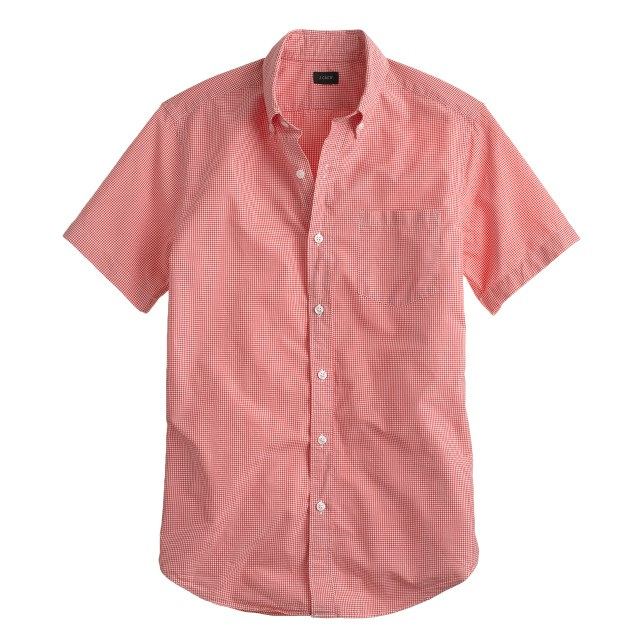 Secret wash short-sleeve shirt in deep poppy gingham