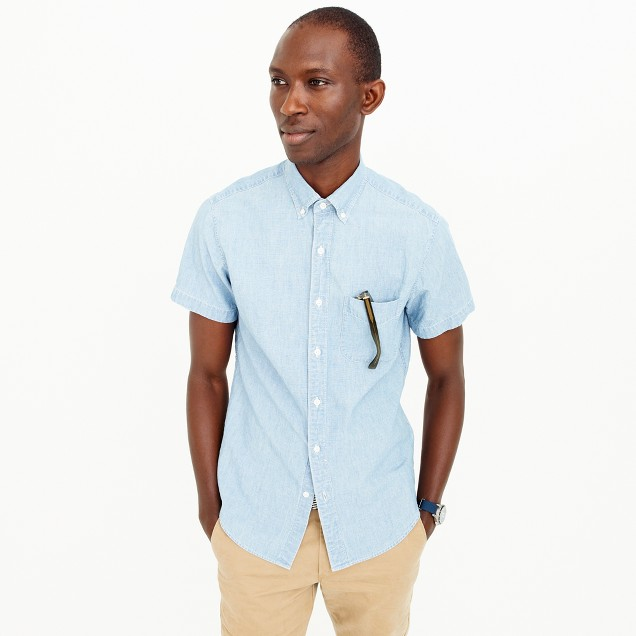 Tall short-sleeve shirt in Japanese indigo chambray