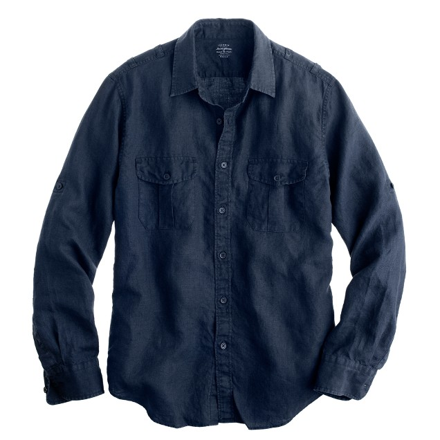 Irish linen camp shirt