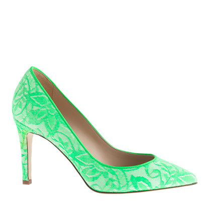 Neon lace pumps