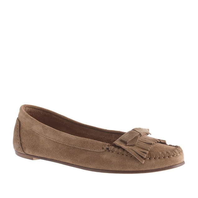 Suede bow moccasins