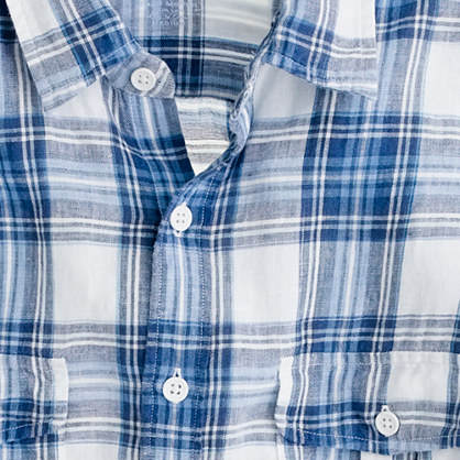 Irish linen camp shirt in blue plaid