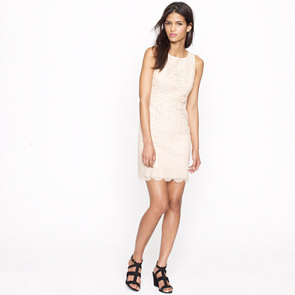 Tiered shift dress in raindrop lace