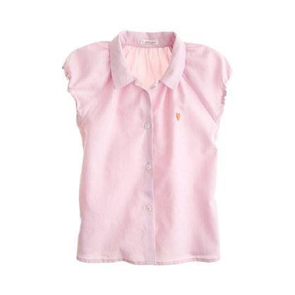 Girls' teeny heart shirt in tissue oxford