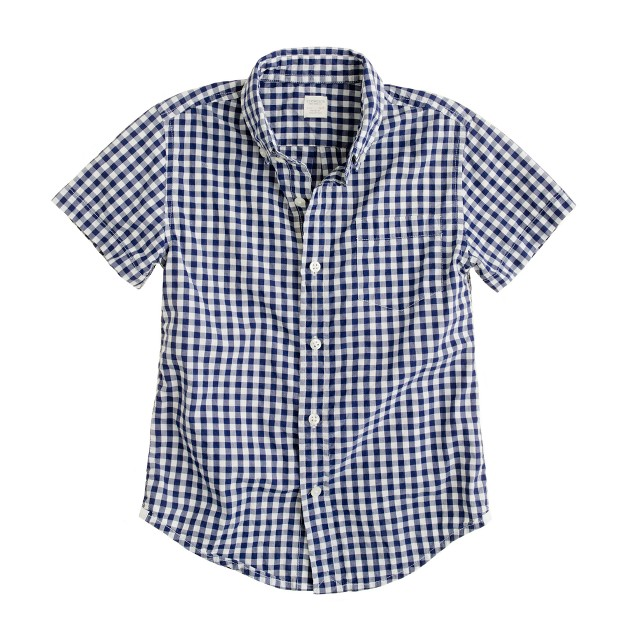 Boys' Secret Wash lightweight short-sleeve shirt in Conrad gingham