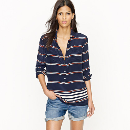 Polly popover in engineered-stripe crepe de chine