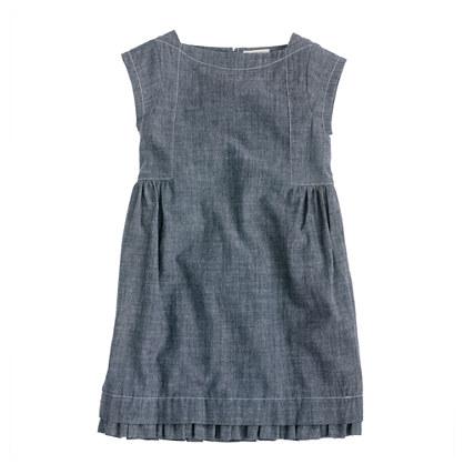 Girls' chambray boatneck dress