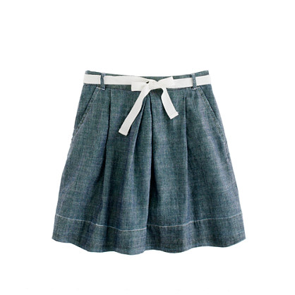 Girls' chambray ribbon-tie skirt