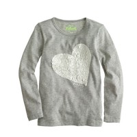 Girls' long-sleeve sequin heart tee