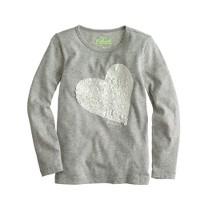 Girls' long-sleeve sequin heart tee