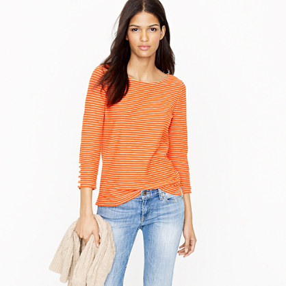 Three-quarter sleeve boatneck tee in stripe